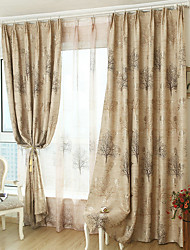 cheap -Country Blackout Curtains Drapes Two Panels Curtain / Printed & Jacquard / Bedroom