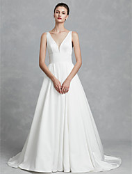 cheap -Ball Gown V Neck Chapel Train Satin Regular Straps Cutouts Made-To-Measure Wedding Dresses with Ruched 2020