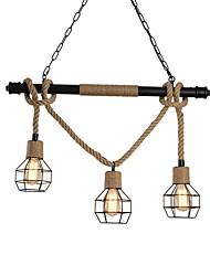cheap -3-Light 3 Head Metal Cage Rustic Metal Water Pipe Hemp Rope Pendant Light Living Room Dining Room Chandelier