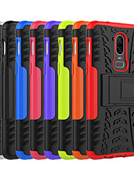 cheap -Case For OnePlus OnePlus 6 / One Plus 5 / OnePlus 5T Shockproof / with Stand Back Cover Tile / Armor Hard PC