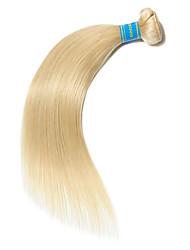 Недорогие -1 комплект Бразильские волосы Прямой Не подвергавшиеся окрашиванию человеческие волосы Remy Precolored ткет волос 10-26 дюймовый Блондинка Ткет человеческих волос Лучшее качество 100% девственница