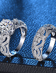 cheap -Women's Ring Ring Set Micro Pave Ring 2pcs Silver Copper Platinum Plated Imitation Diamond Ladies Romantic Fashion Party Date Jewelry Rivet Heart Love Lovely