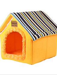 cheap -Dog Cat Bed Tent Cave Bed Pet House Stripes Warm Folding Fabric 29*29*19*33     32*32*21.5*36 cm