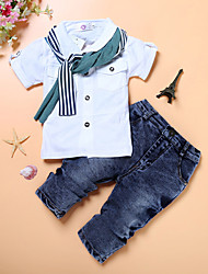 cheap -Kids Toddler Boys' Street chic Daily School Solid Colored Long Sleeve Regular Regular Cotton Clothing Set White