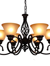 cheap -6-Light Chandelier Ambient Light Painted Finishes Metal Glass Eye Protection 110-120V / 220-240V Bulb Not Included / FCC