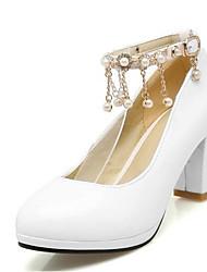 cheap -Women's Heels Chunky Heel PU Spring Black / White / Pink / Wedding / Daily