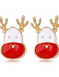 Недорогие -Жен. Серьги-гвоздики 3D Elk Дамы Классика Мода Стразы Серьги Бижутерия Цвет радуги Назначение Рождество Новый год 1 пара
