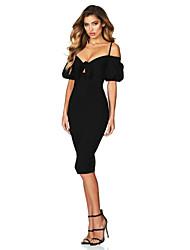 cheap -Sheath / Column Spaghetti Strap Knee Length POLY Elegant Wedding Party Dress with Pattern / Print 2020