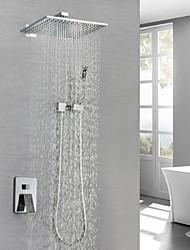 cheap -Shower Faucet / Bathroom Sink Faucet - Contemporary Chrome Wall Mounted Brass Valve Bath Shower Mixer Taps / Single Handle Three Holes