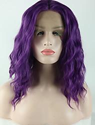 Недорогие -Синтетические кружевные передние парики Свободные волны Loose Curl Средняя часть Лента спереди Парик Короткие Фиолетовый Искусственные волосы 14 дюймовый Жен. Гладкие Регулируется Жаропрочная