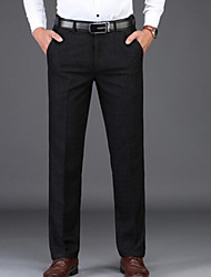 abordables -Homme Basique Travail Costume Pantalon - Couleur Pleine Noir 34 36 38