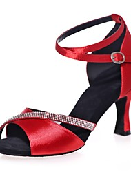 cheap -Women's Latin Shoes Sandal Buckle Crystals Flared Heel Black Red Gold Ankle Strap