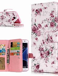 Недорогие -Кейс для Назначение SSamsung Galaxy S9 / S9 Plus / S8 Plus Кошелек / Бумажник для карт / со стендом Чехол Цветы Твердый Кожа PU