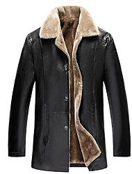 cheap -Men's Daily Basic Long Leather Jacket, Solid Colored Turndown Long Sleeve Polyester Brown / Black