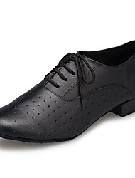 cheap -Men's Modern Shoes / Ballroom Shoes Cowhide Sneaker Splicing Thick Heel Dance Shoes Black / EU42