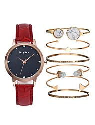cheap -Women's Wrist Watch Quartz Gift Set Leather Black / White / Blue Chronograph Cute Luminous Analog Ladies Luxury Bangle - Purple Red Blue One Year Battery Life