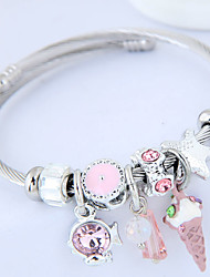 cheap -Women's Charm Bracelet Thick Chain Fish Ice Cream Ladies European Fashion Cute Rhinestone Bracelet Jewelry Black / Pink / Light Blue For Party Daily