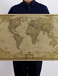 cheap -Large Vintage World Map Office Supplies Detailed Antique Poster Wall Chart Retro Paper Matte Kraft Paper 28*18inch Map Of World
