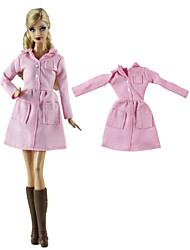 abordables -Tenue de poupée Manteau de poupée Manteaux / Vestes Pour Barbie Rose Etoffe non tissé Tissu Tissu de coton Manteau Pour Fille de Jouets DIY