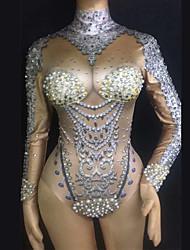 abordables -Vêtements de danse exotiques Combinaison à Strass / Costume de club Femme Utilisation Spandex Détail Perle / Cristaux / Stras Manches Longues Collant / Combinaison