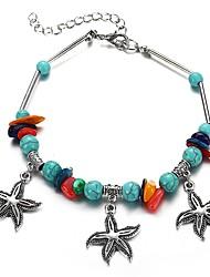 cheap -Women's Ankle Bracelet Retro Starfish Ladies Artistic Bikini Resin Anklet Jewelry Silver For Bikini