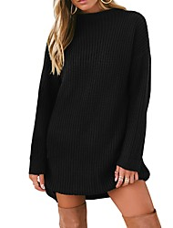cheap -Women's Daily Basic Solid Colored Long Sleeve Puff Sleeve Loose Regular Pullover, Turtleneck Fall / Winter Black / Army Green / Khaki S / M / L / High Waist