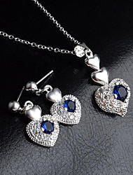 cheap -Women's Blue Cubic Zirconia tiny diamond Drop Earrings Pendant Necklace Classic Heart Ladies Stylish Simple Dangling Silver Plated Earrings Jewelry Silver For Gift Going out