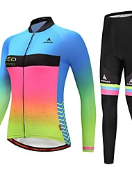 cheap -Miloto Women's Long Sleeve Cycling Jersey with Tights Cycling Jacket with Pants Blue+Yellow Luminous Gradient Plus Size Bike Reflective Strips Back Pocket Winter Sports Fleece Gradient Mountain Bike