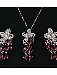 cheap -Women's Multicolor Cubic Zirconia Drop Earrings Pendant Necklace Trace Flower Pear Ladies Romantic Sweet Elegant Rhinestone Earrings Jewelry Green / Blue / Pink For Party Date 1 set