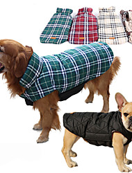 cheap -Dog Coat Vest Winter Dog Clothes Brown Green Red Costume Husky Labrador Alaskan Malamute Cotton Plaid / Check Waterproof Keep Warm Reversible XS S M L XL XXL
