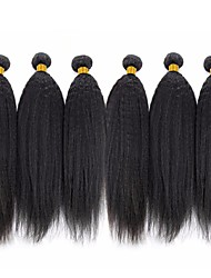cheap -6 Bundles Brazilian Hair kinky Straight Human Hair Natural Color Hair Weaves / Hair Bulk Bundle Hair One Pack Solution 8-28 inch Natural Natural Color Human Hair Weaves Silky Smooth Extention Human