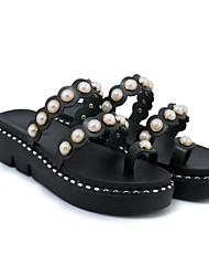 cheap -Women's Sandals Flat Heel PU Summer Black / White / Pink