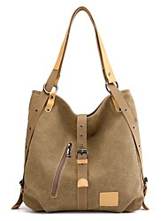 cheap -Women's Zipper Canvas Tote Canvas Bag Coffee / Light Grey / Khaki