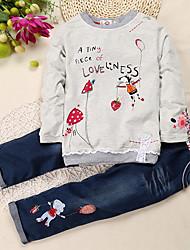 cheap -Kids Toddler Girls' Street chic Daily School Print Long Sleeve Regular Regular Cotton Clothing Set Light gray