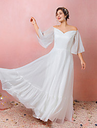 cheap -A-Line Empire White Engagement Prom Dress Off Shoulder 3/4 Length Sleeve Floor Length Chiffon Satin with Ruffles 2020