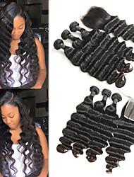 Недорогие -3 комплекта с закрытием Перуанские волосы Крупные кудри человеческие волосы Remy Накладки из натуральных волос Волосы Уток с закрытием 8-26 дюймовый Нейтральный Ткет человеческих волос / 10A