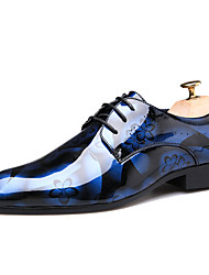 cheap -Men's Dress Shoes Derby Shoes Spring / Fall Business / Classic / British Daily Party & Evening Outdoor Oxfords Patent Leather Breathable Non-slipping Wine / Blue / Brown