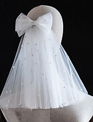 cheap -Two-tier Pearl / Cute Wedding Veil Shoulder Veils with Faux Pearl / Beading Tulle / Angel cut / Waterfall