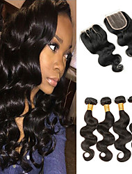 cheap -4 Bundles With Closure Indian Hair Body Wave Remy Human Hair 250 g Human Hair Extensions Hair Weft with Closure 8-26 inch Natural Human Hair Weaves Soft Best Quality New Arrival Human Hair Extensions