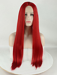 cheap -Synthetic Lace Front Wig Matte Silky Straight Middle Part Lace Front Wig Long Red Synthetic Hair 16-26 inch Women's Silky Smooth Synthetic Red