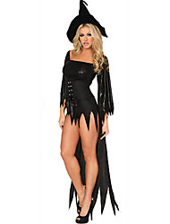 cheap -Witch Uniforms Cosplay Costume Party Costume Costume Fancy Costume Adults' Highschool Women's Cosplay Halloween Halloween Carnival Masquerade Festival / Holiday Other Material Spandex Black Female