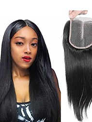 cheap -Peruvian Hair 4x4 Closure / Free Part Straight Middle Part Swiss Lace Human Hair Women's Classic / Natural / Adorable Sports Outdoor / Business / Ceremony / Wedding / Wedding Party