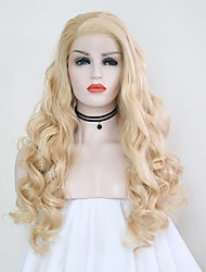 cheap -Synthetic Lace Front Wig Body Wave Side Part Lace Front Wig Blonde Long Light Blonde Synthetic Hair 24 inch Women's Adjustable Heat Resistant Party Blonde
