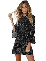 cheap -Women's Club Elegant Flare Sleeve Bodycon Dress - Polka Dot Rivet High Waist Turtleneck Fall Black Royal Blue S M L / Sexy