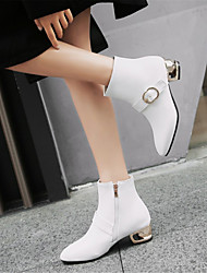 cheap -Women's Fashion Boots PU(Polyurethane) Winter Boots Chunky Heel Round Toe Booties / Ankle Boots White / Black / Red