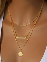 cheap -Women's Layered Necklace Double Layered Bar Ladies Simple Trendy Chrome Gold 40 cm Necklace Jewelry 1 set For Party / Evening Going out