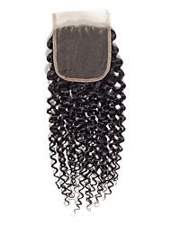 Недорогие -Бразильские волосы / Бирманские волосы 4x4 Закрытие Кудрявый Бесплатный Часть / Средняя часть / 3 Часть Средняя часть Корейское кружево Натуральные волосы Жен.