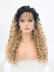 cheap -Synthetic Lace Front Wig Curly Free Part Lace Front Wig Blonde Long Light golden Synthetic Hair 24 inch Women's Adjustable Heat Resistant Party Blonde