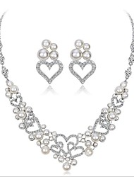 cheap -Women's Freshwater Pearl Bridal Jewelry Sets Classic Heart Ladies Fashion Earrings Jewelry White For Wedding Party 1 set