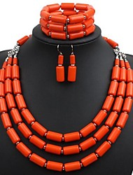 cheap -Women's Drop Earrings Necklace Bracelet Layered Ladies Stylish Simple Resin Earrings Jewelry Orange / Dark Blue / Green For Daily 1 set